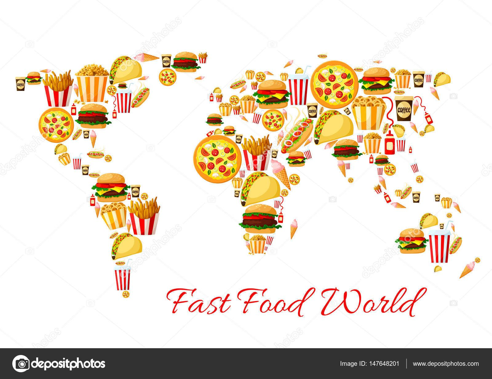 Download fast food world map cartoon poster design stock download fast food world map cartoon poster design stock illustration gumiabroncs Images