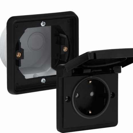 Niko Hydro waterdicht stopcontact 1-voudig zwart compleet inbouw ...