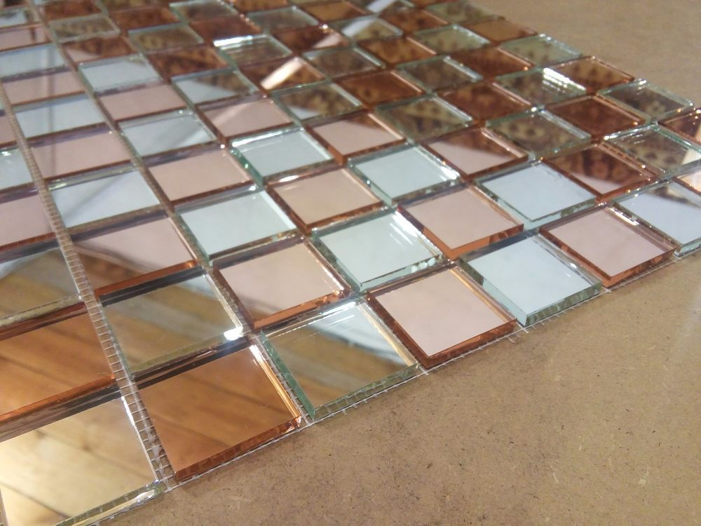 """6 sheets of wall mirror """"Rose Gold & Silver"""" glass mosaic tiles on mesh 12""""x12"""" #GrebenGlass"""