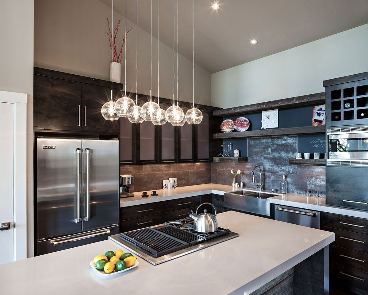 Ultra Modern Apartment Kitchen With Minimalist Island Mini Spherical Glass Pendant Lights Over The Giving Perfect Beauty To Your Cooking Space