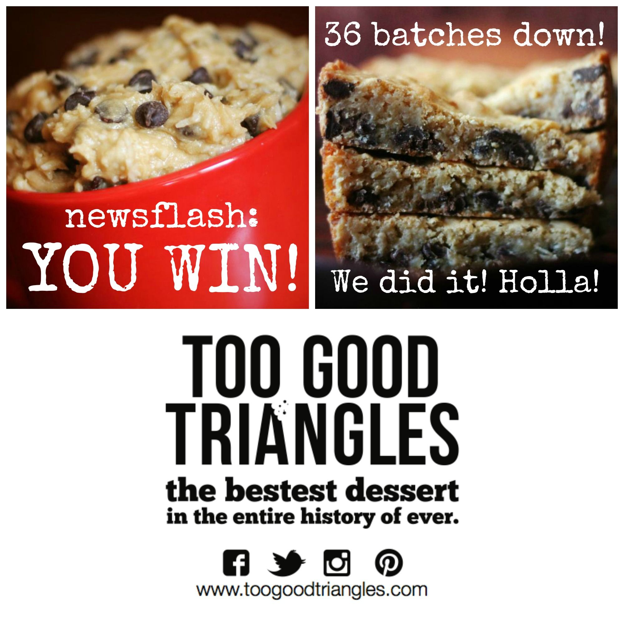 Congrats to all 8 of today's #8daysofawesome winners! Sierra_val, Alanna Johnson, Noubelia Sousa, Valerie Bush, Angela Lovely, Jessica Hill, Jason Lovely, and Kelly Sanzsole. Email mandy@toogoodtriangles.com to arrange your pick up or delivery. #happybirthdayTGT #tgt #toogoodtriangles