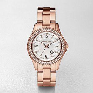Michael Kors  Ladies' Watch In Rose Gold & White