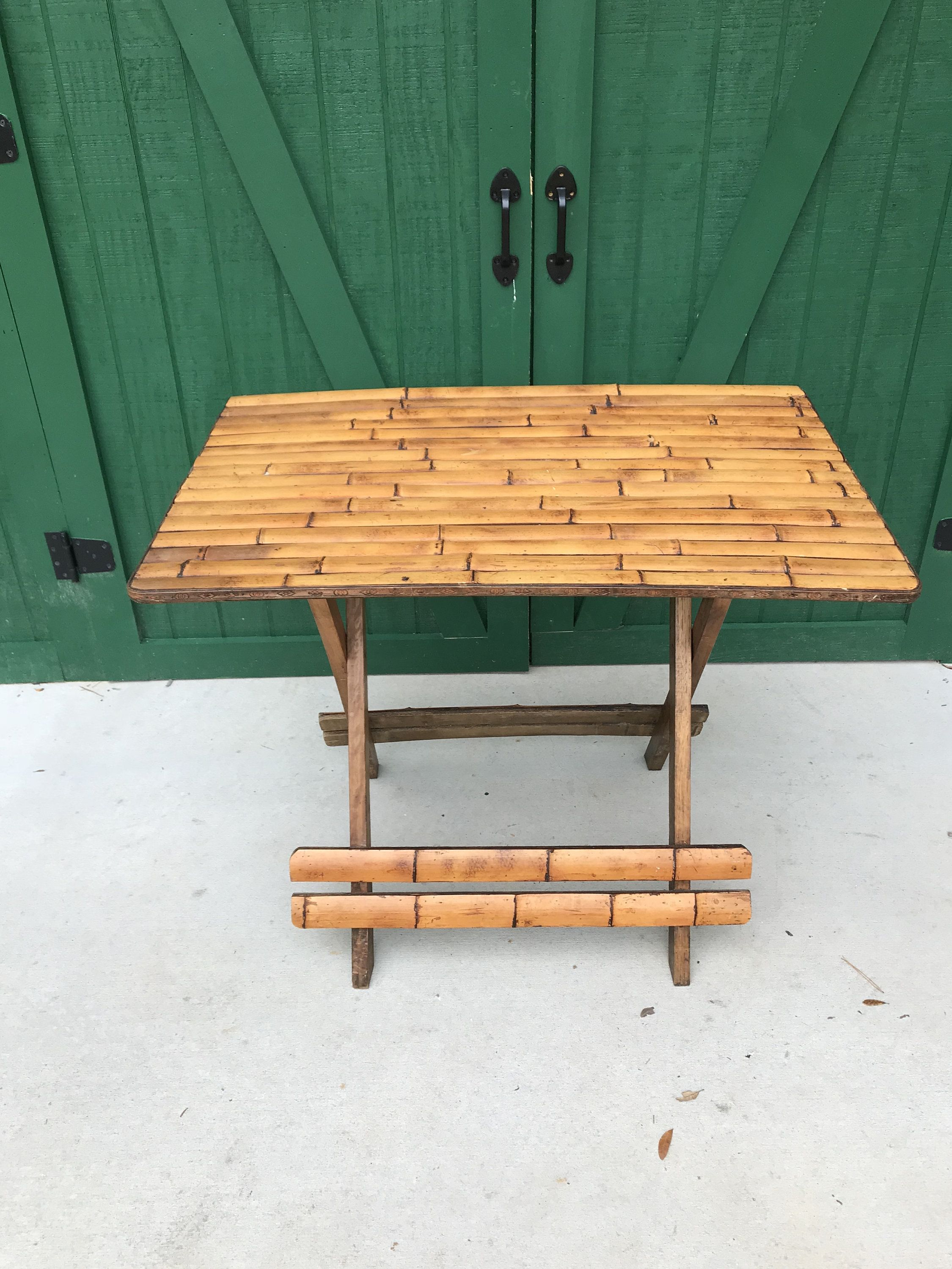 Vintage Bamboo Folding Picnic Table Circa 1950 Teak Base Folding