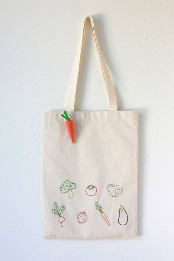 Vegetable Embroidered Cotton Canvas Tote Bag with Felt Carrot Keychain- so  cute! d43c2943a3e
