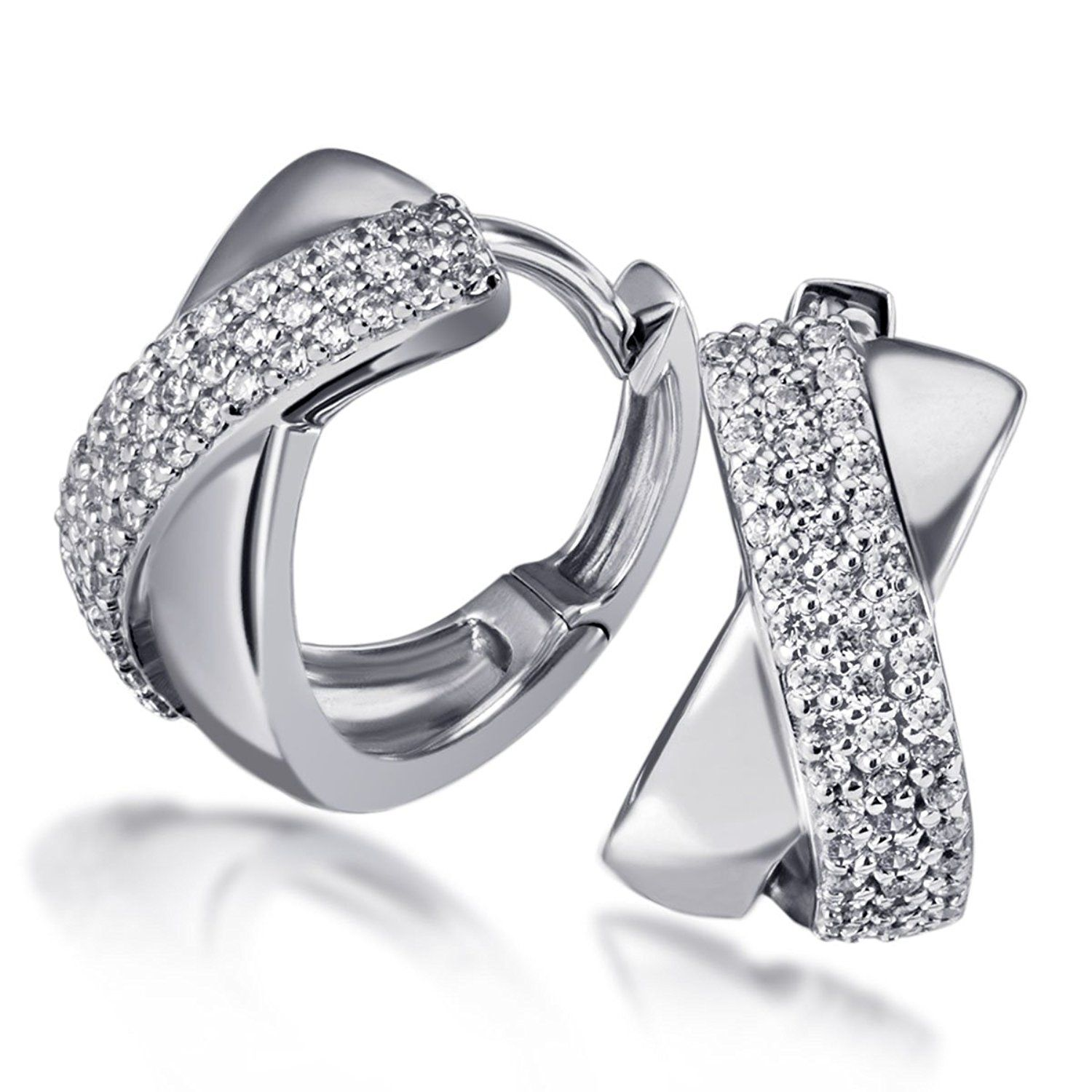 Goldmaid Women's 925 Sterling Silver Earrings with clear