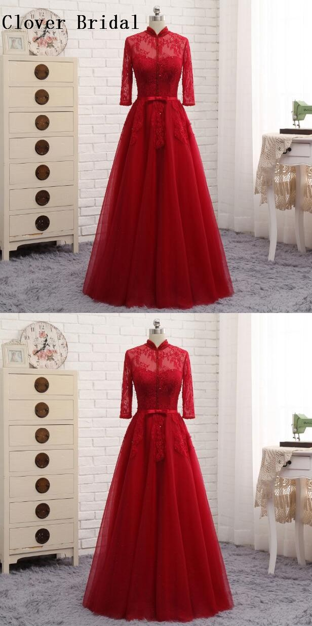 Burgundy Evening Dress Long Sleeves High Neck Lace With Beaded A ...