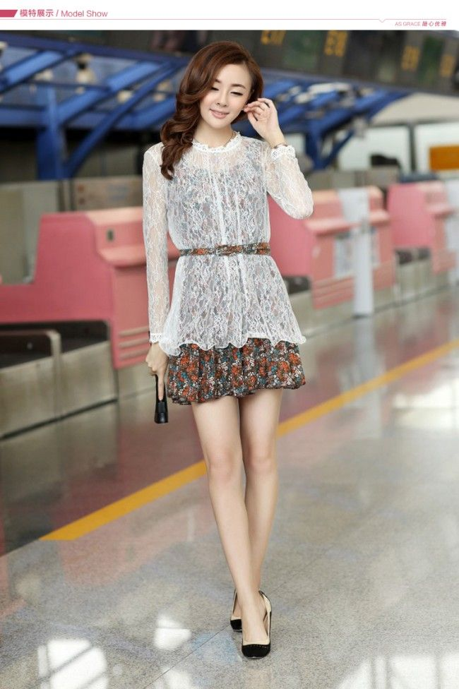 Autumn Fashion Lace Two Pieces Printing Dress (With Belt)