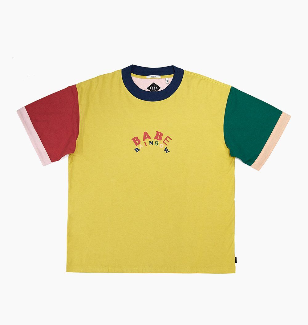587d00e5b9 BABE RAINBOW GREENROOM TEE - MUSTARD – The Critical Slide Society ...