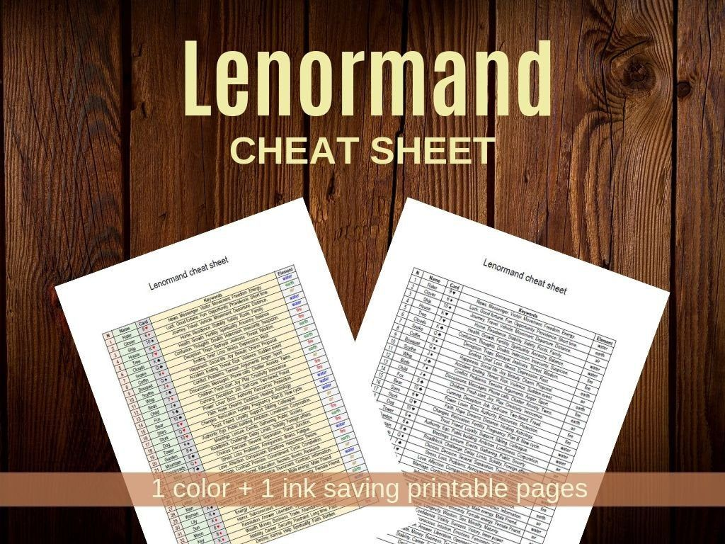 Lenormand Cheat Sheet 2 Printable Worksheets