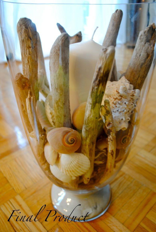 DIY candle holder using shells