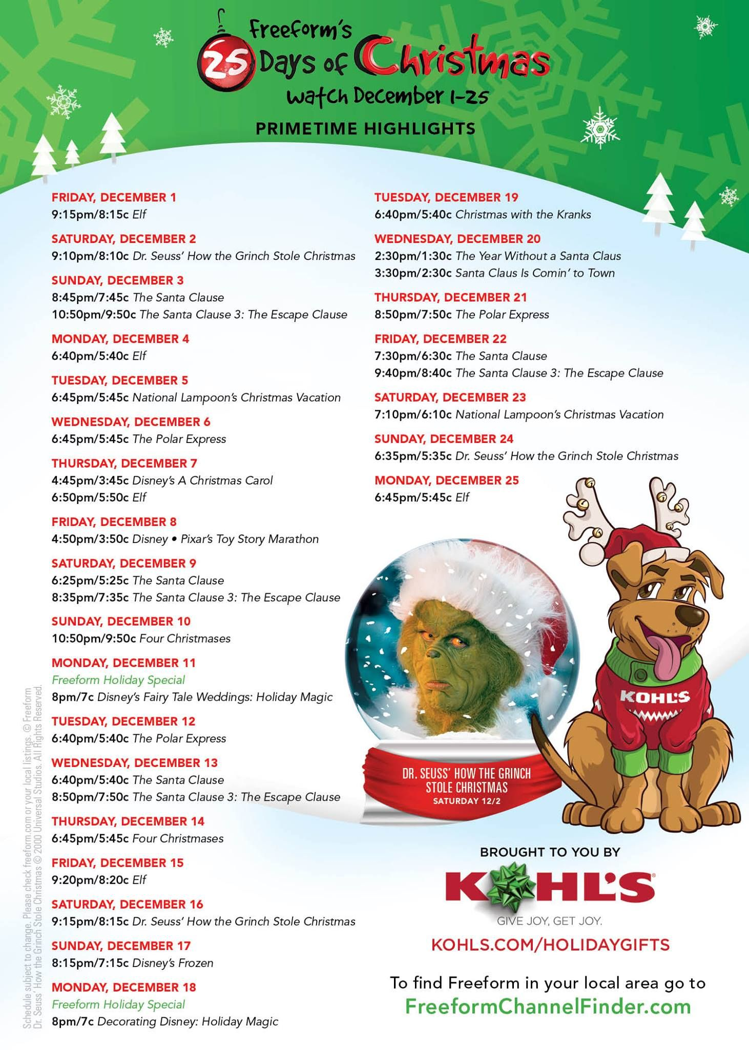 Freeform 25 Days of Christmas Movies Schedule 25 days of