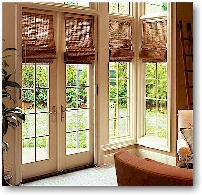 Roman Shades for French Doors | The Nest \u2013 Buying a Home Money Advice & Roman Fruitwood Bamboo French Patio Door Shade | Deal Door shades ... Pezcame.Com