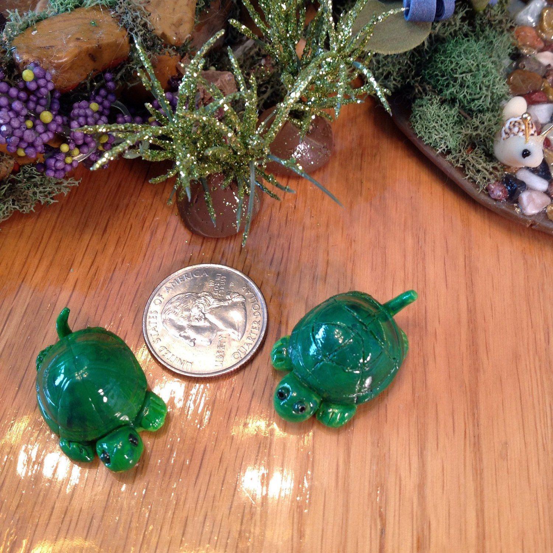 Pair of miniature turtles fairy gardens decorations terrarium