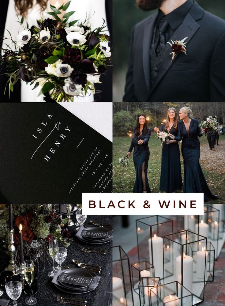 Black and Wine Chic Halloween Wedding theme inspiration from West-South #halloweenwedding #blackwedding #weddingideas #weddingplanning