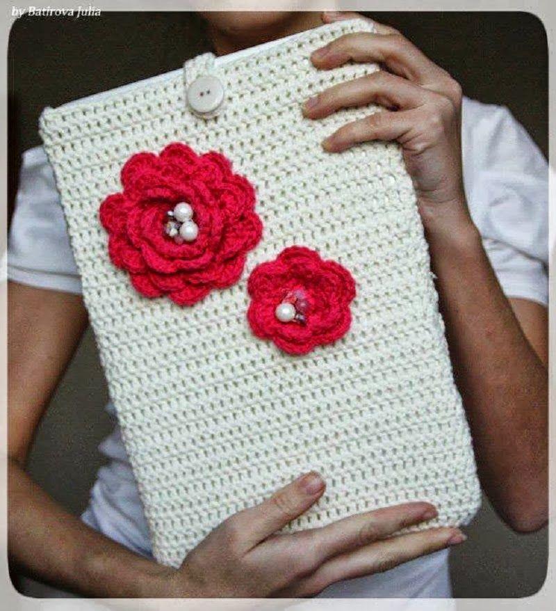 crochelinhasagulhas: Capa de crochê para notebook   Prateleiras ...