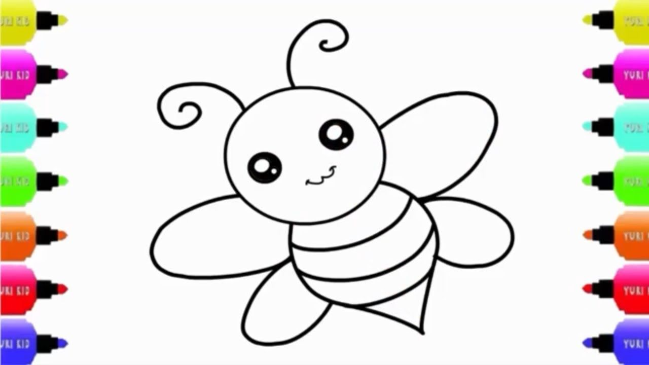 Draw A Cute Honey Bee Easy Step By Step For Kids And Children