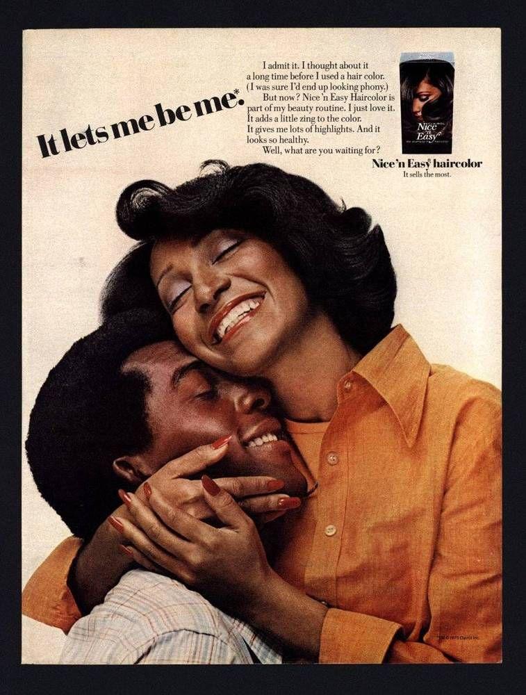 Vintage Print Ad Black Americana 1975 Nice N Easy Clairol Hair Color Not Phony Clairol Hair Advertising Vintage Makeup Ads