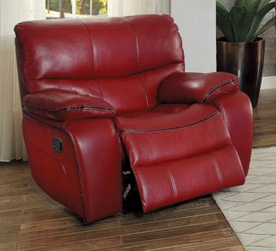 Homelegance Hammond Collection Red Leather Gel Gliding Recliner 8480RED-1