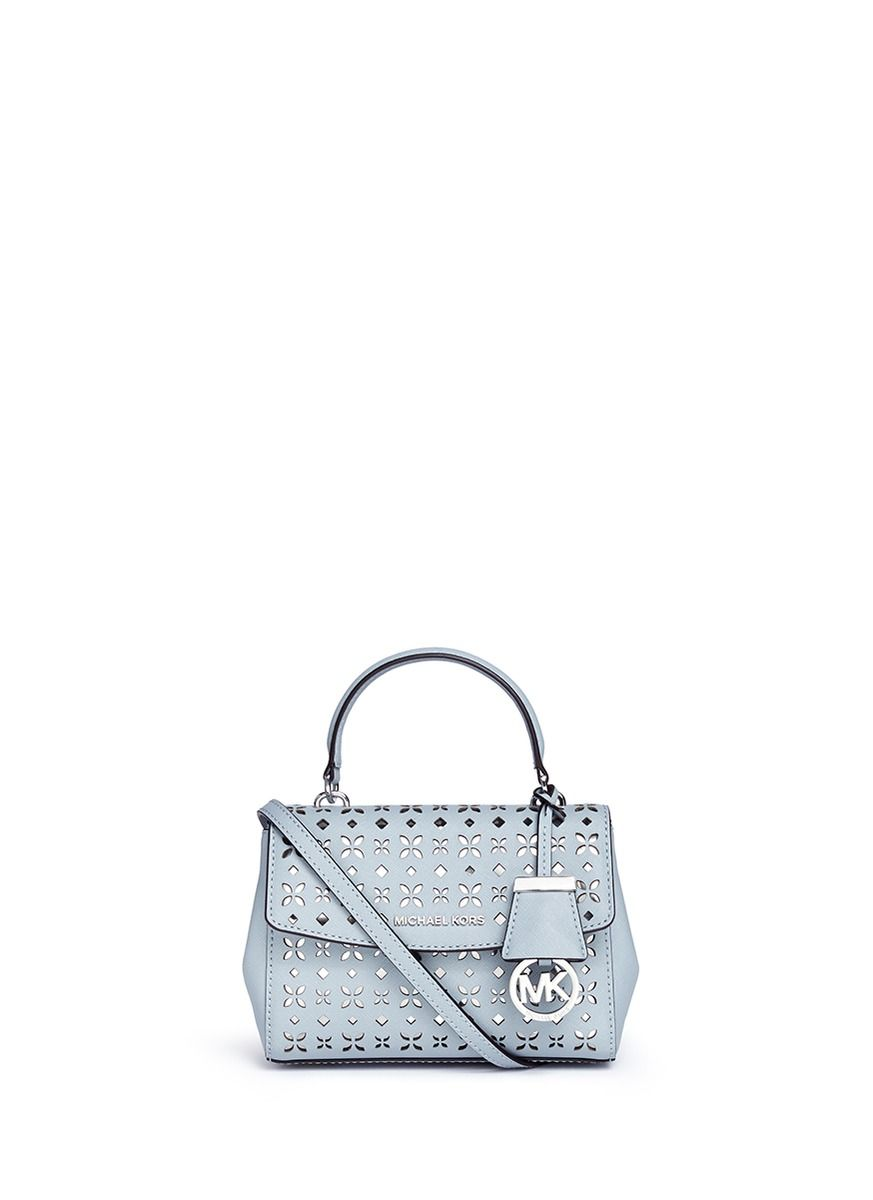 a52110c22f02 MICHAEL KORS  Ava  Extra Small Perforated Leather Crossbody Bag.   michaelkors  bags  crossbody  leather  lining  metallic  shoulder bags   hand bags
