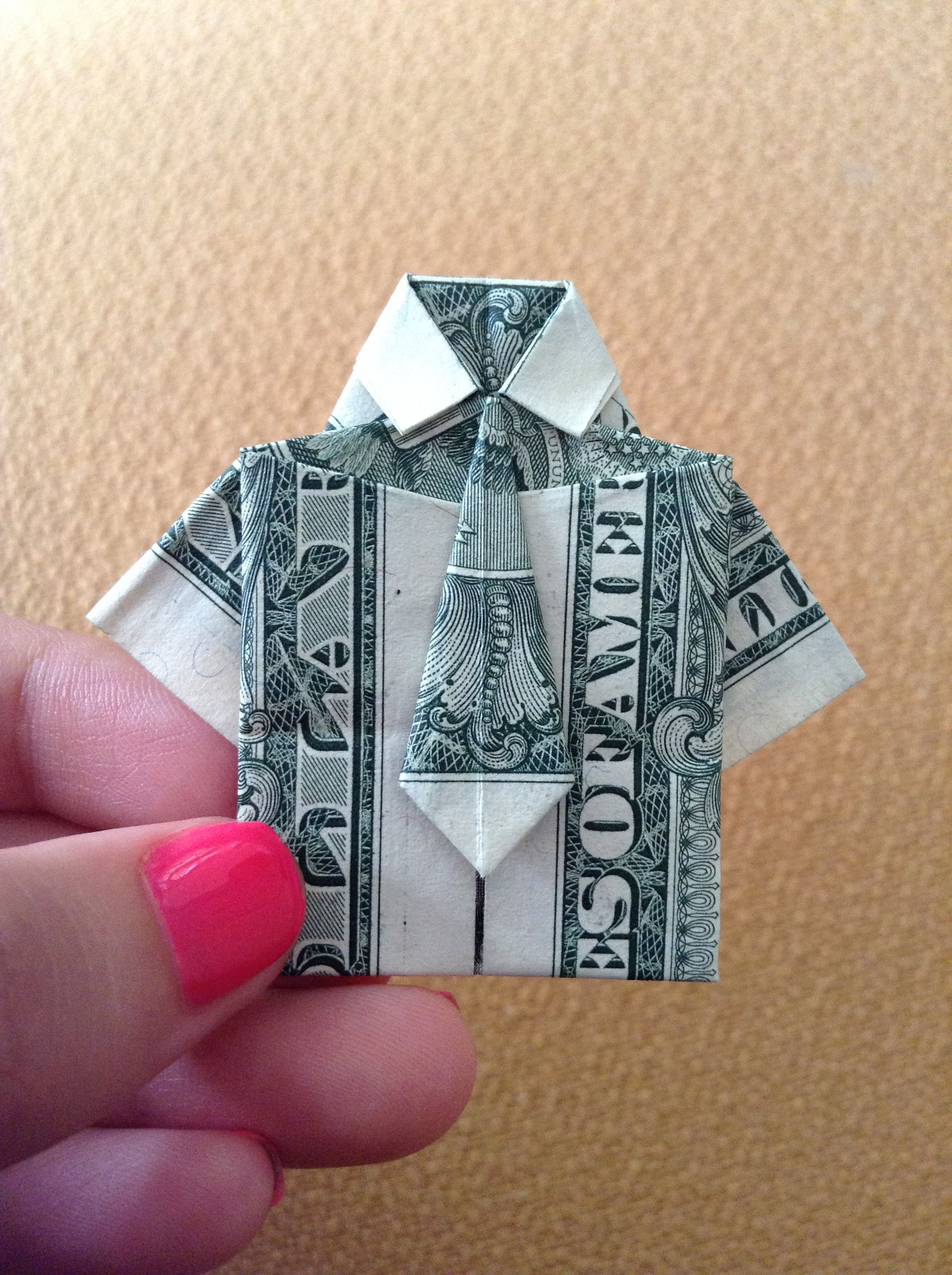 Money Origami Shirt With Tie And PANTS Suit Folded With Two Real ... | 2592x1936
