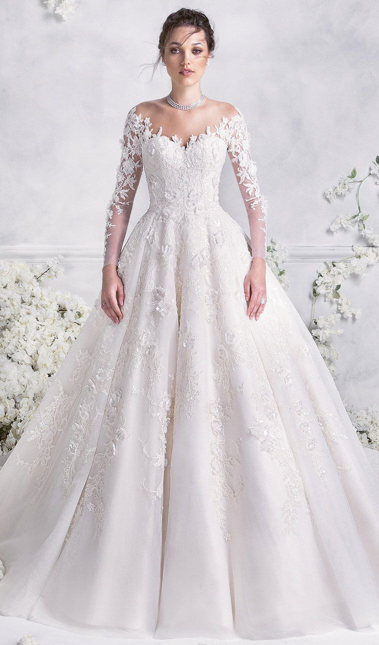 Princess wedding gown with long sleeves rami al ali 2018 Wedding dress themes 2018