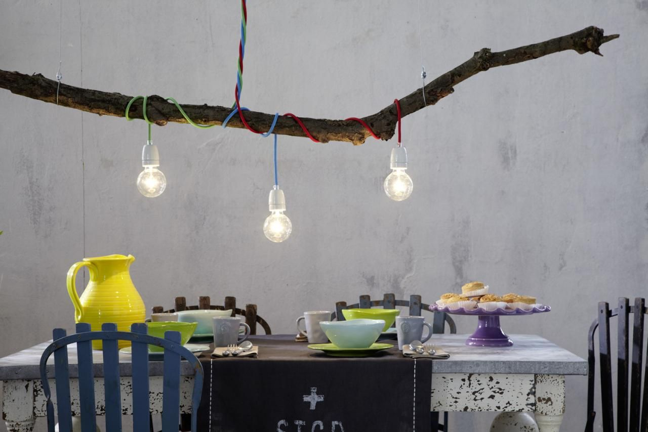 Ast Lampe, Textilkabel Lampe