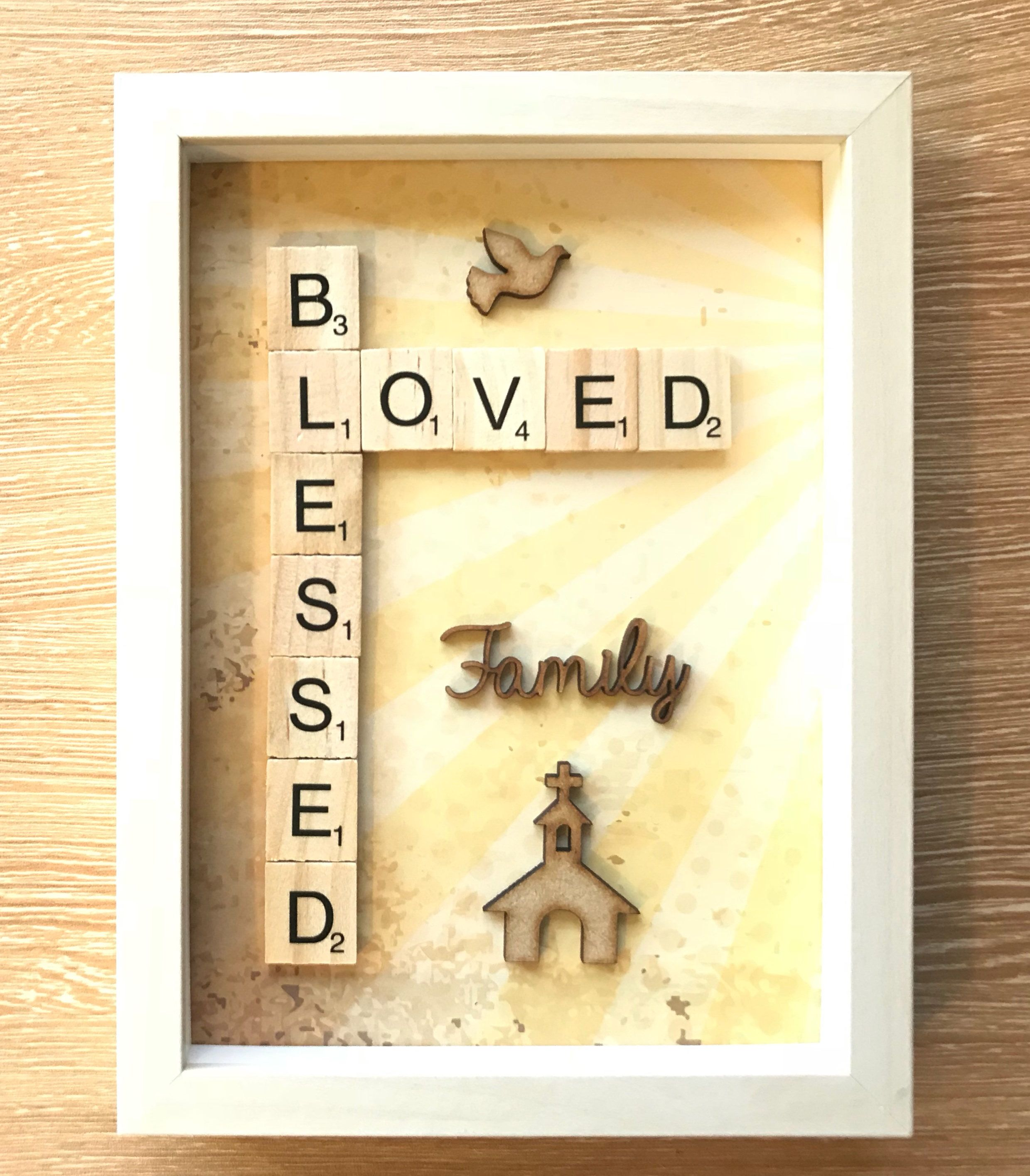 Blessed Quote. Blessed Loved Scrabble Box Frame. Religious Gift ...