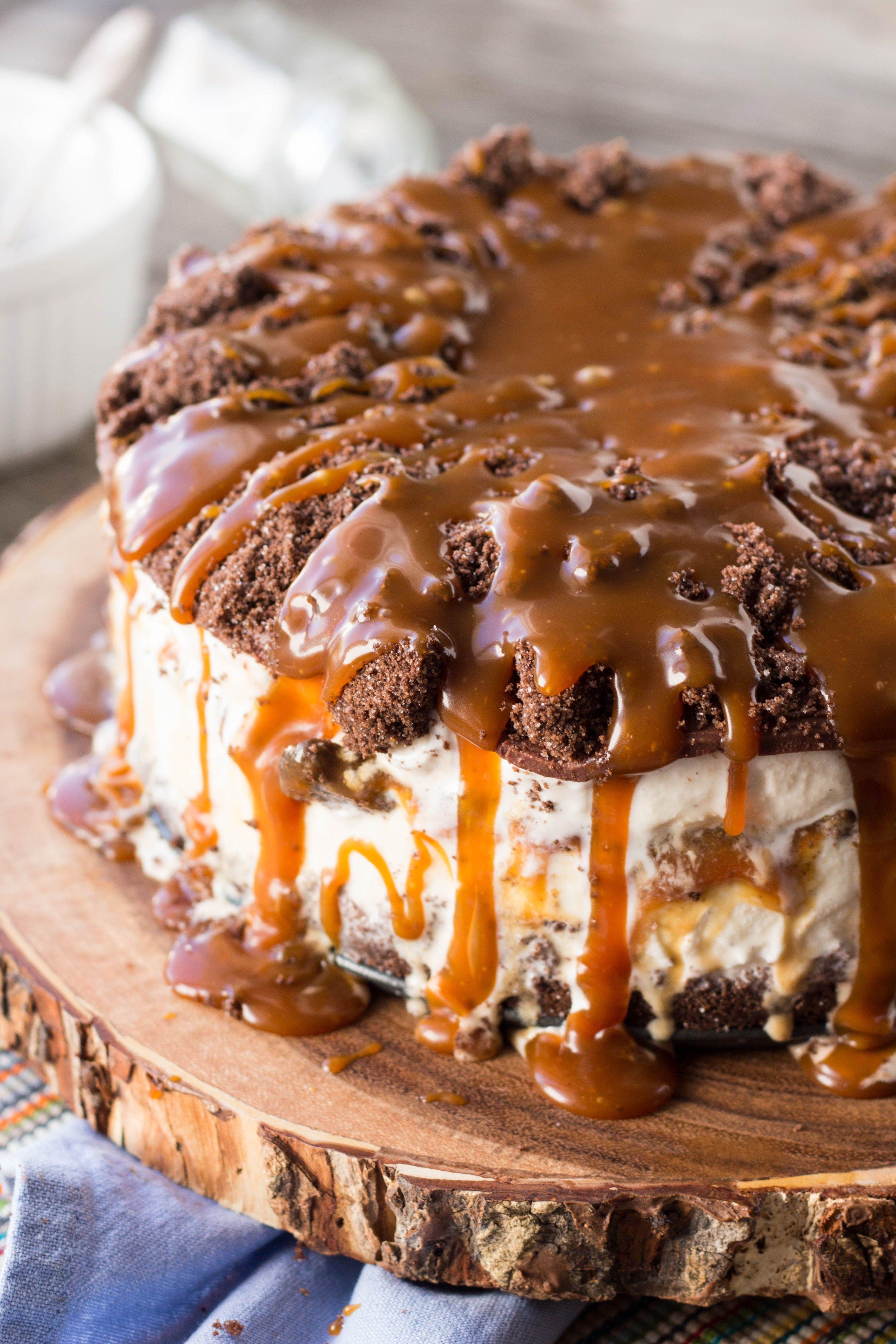 Salted Chocolate + Caramel Ice Cream Cake Recipe Ice