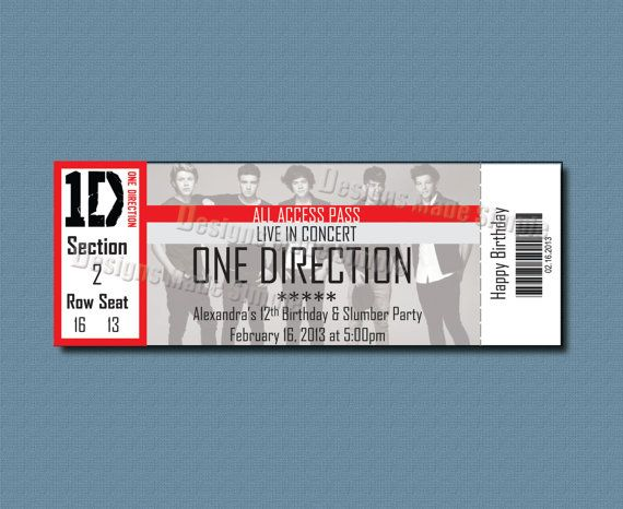 Custom Concert Ticket Invitation One Direction Printable – Concert Ticket Birthday Invitations