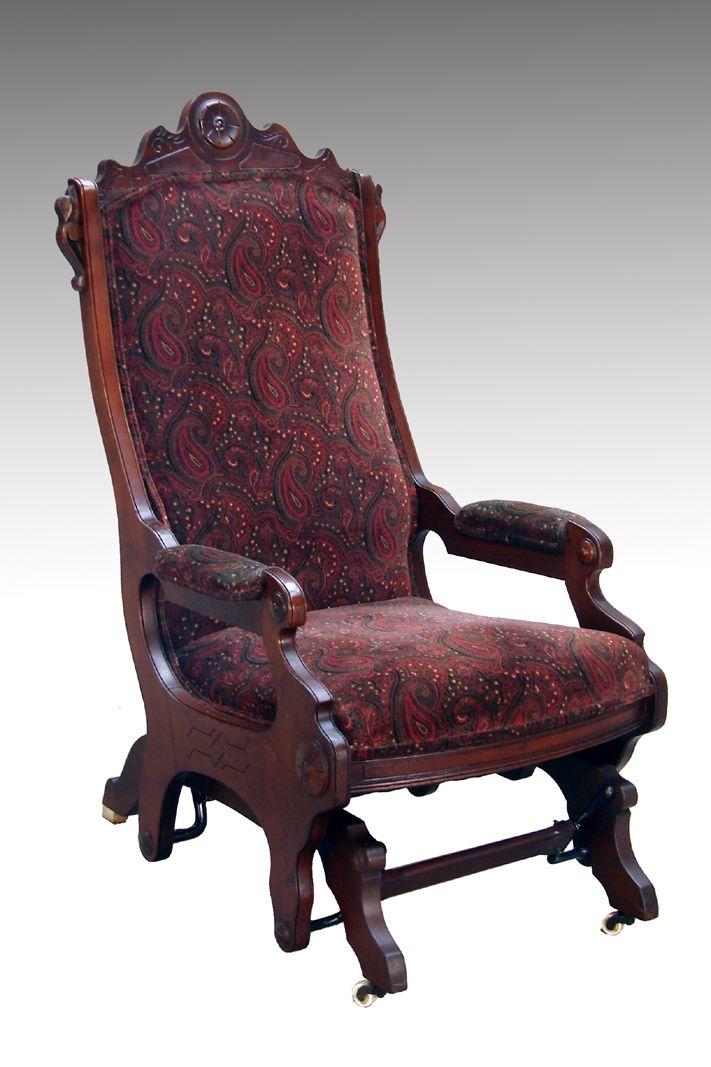 SOLD Victorian Walnut Glider Rocker-Very Rare - Maine Antique Furniture - SOLD Victorian Walnut Glider Rocker-Very Rare Gliders, Rockers And