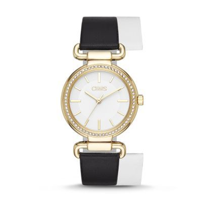 92b838a81 Sale Alanis Gold-Tone Black and White Leather Three-Hand Watch With a  reversible white-to-black leather strap, glossy white dial and glitz  topring, ...
