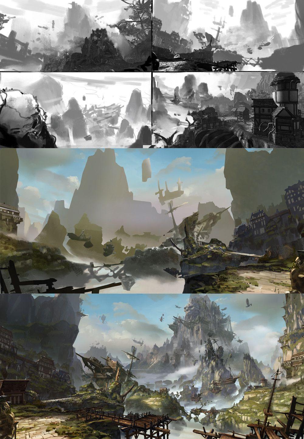 Pirate Boat Jiang Fan Game Concept Art Landscape Art Digital Painting Techniques