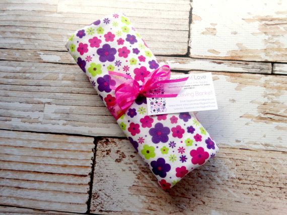 Extra Large, Cotton Flannel Receiving, Swaddling Blanket, Rolled Hem Serged Edge, Baby Girl, Hot Pink, Purple and Lime Green Flowers