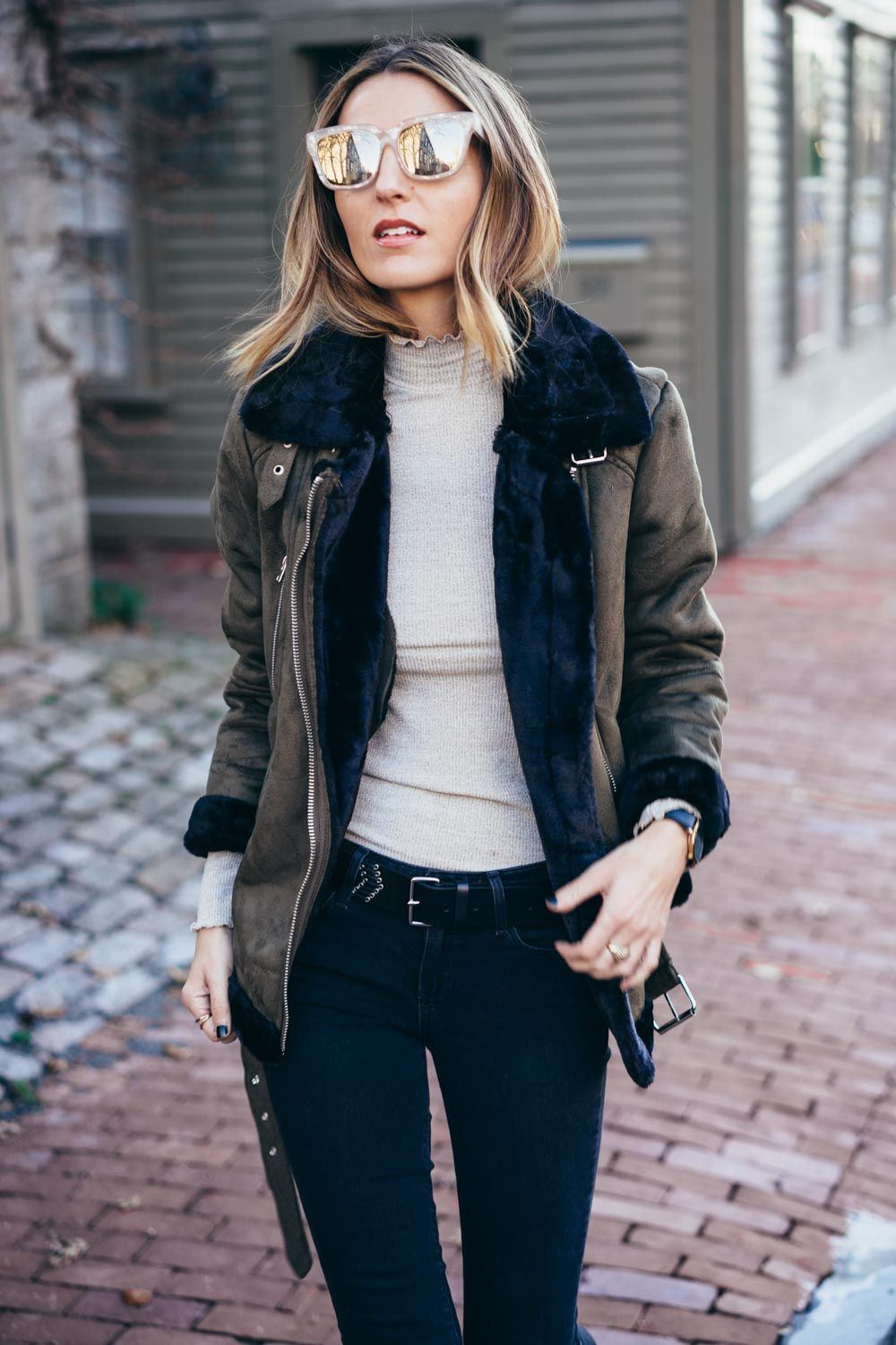 Faux Shearling Moto Jacket and Mirrored Sunglasses