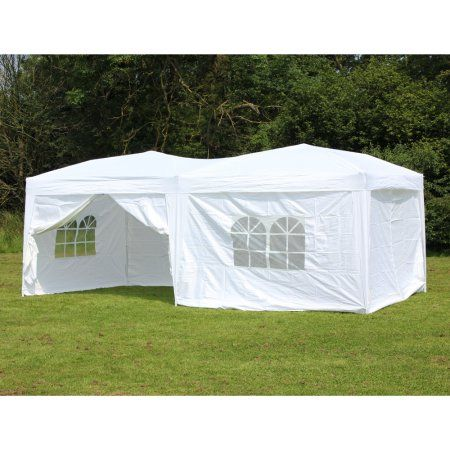 10 X 20 Palm Springs Pop Up White Canopy Gazebo Party Tent With 6 Side Walls New Gazebo Party Tent White Canopy