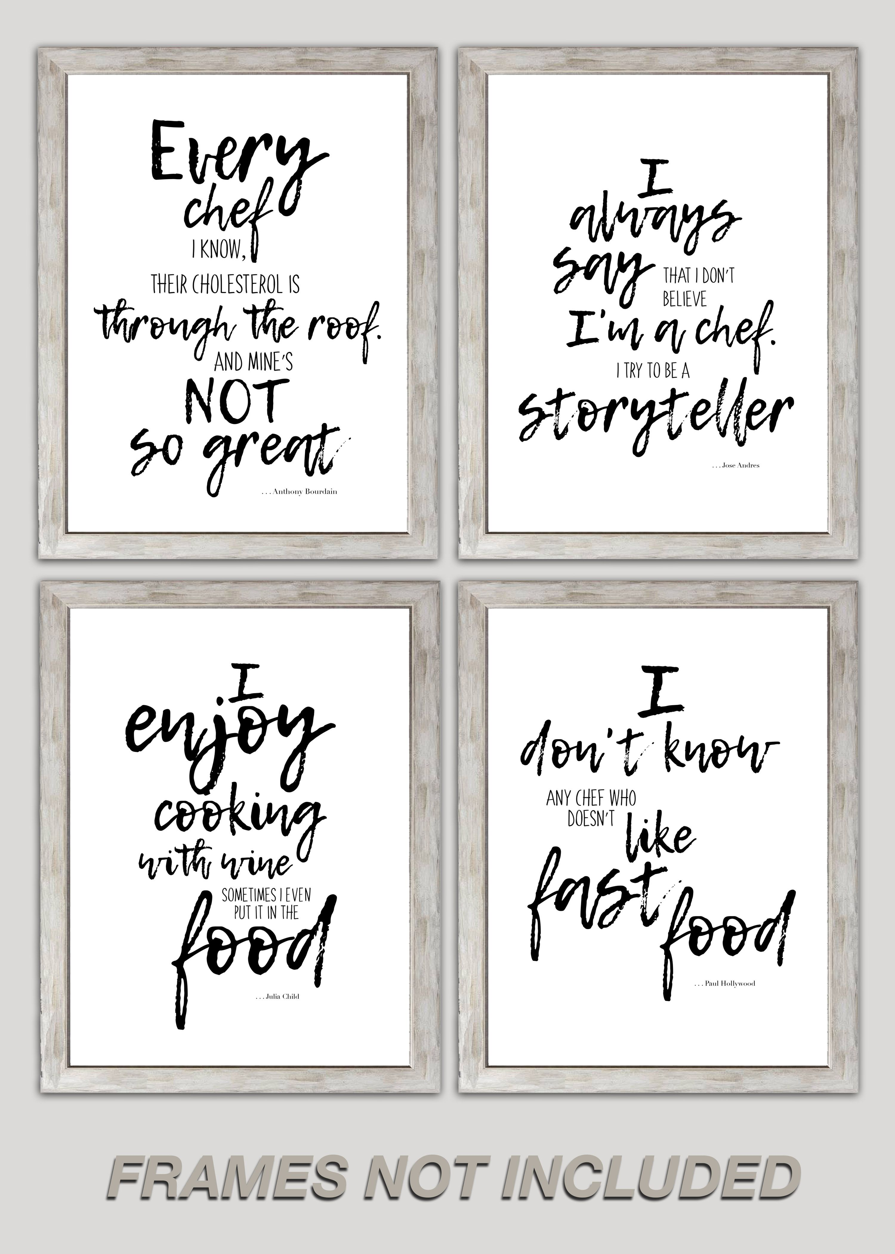 Barkano Chef Kitchen Quotes Inspirational Wall Art Set Of 4 Motivational Home Decor Inspirational Wall Art Wall Art Sets Double Bowl Undermount Kitchen Sink