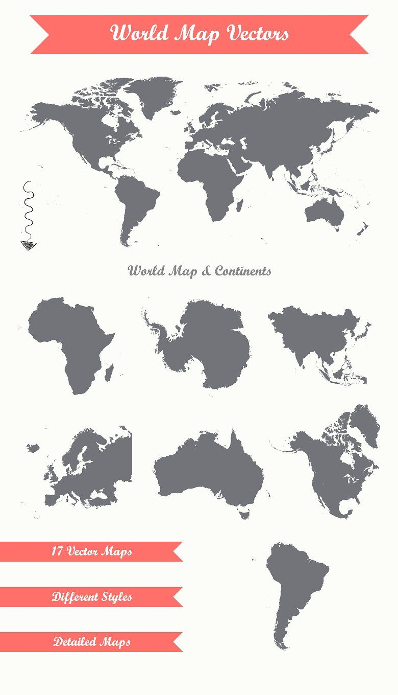 17 World Map Vectors Separate Included Ai Transparent Logo Design