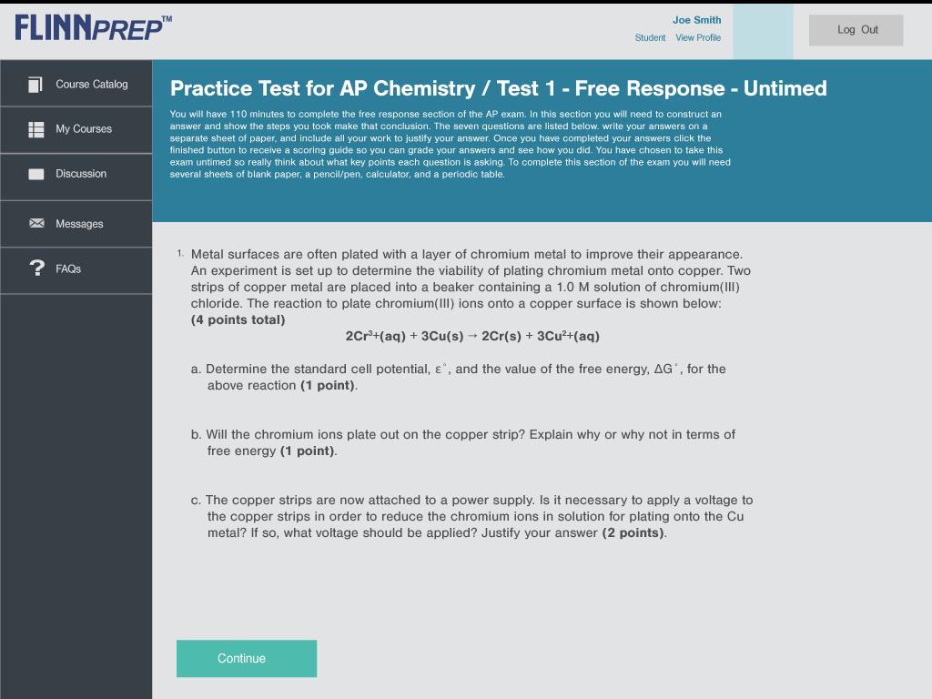 FlinnPREP free response questions for AP Chemistry practice exam