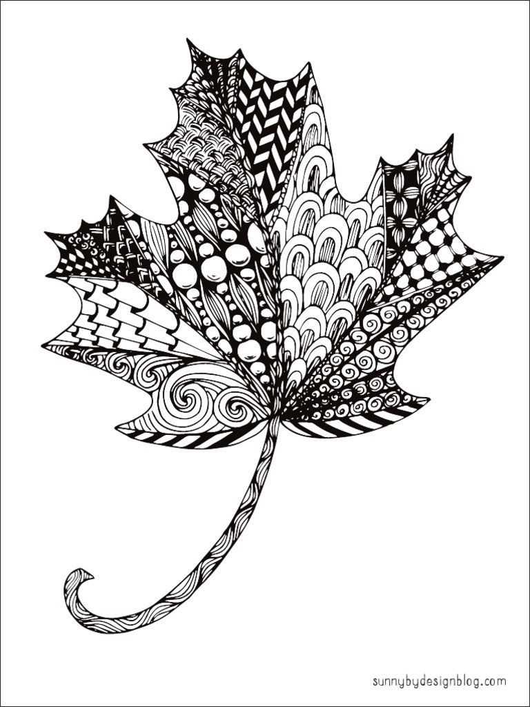 Free Printable Zentangle Maple Leaf Coloring Page by Sunny