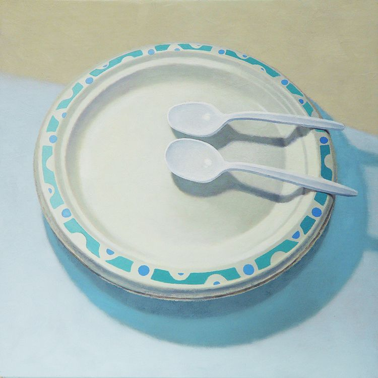Other Jaye Schlesinger Plates Realistic Oil Painting Paper Plates