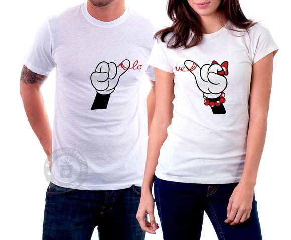 Camisetas Casal- Minnie e mickey love  68663ffadb854