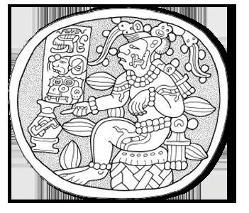 Antiguo dios del cacao en la cultura maya