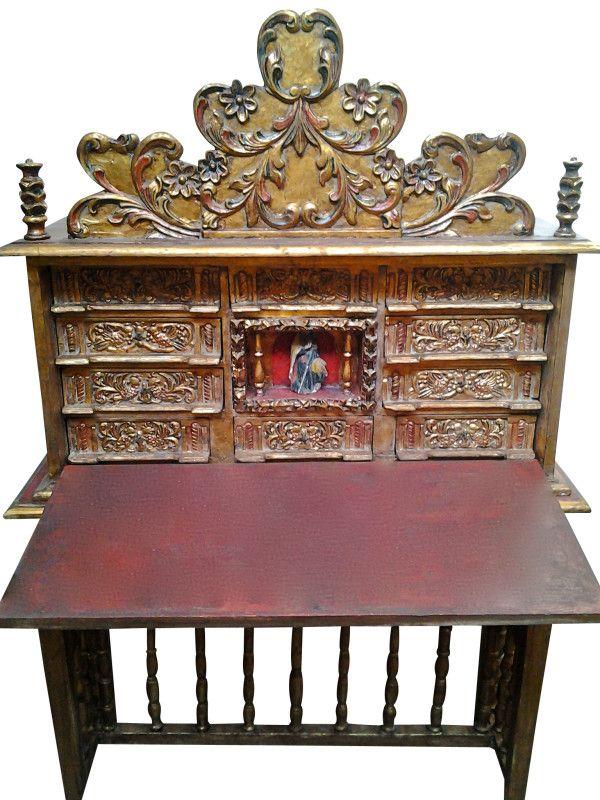 Sale: Rare 18th C. Antique Peruvian Spanish Colonial Barqueno with Oil  Painting - SantiQ ~ ColonialArtShop - - Sale: Rare 18th C. Antique Peruvian Spanish Colonial Barqueno With
