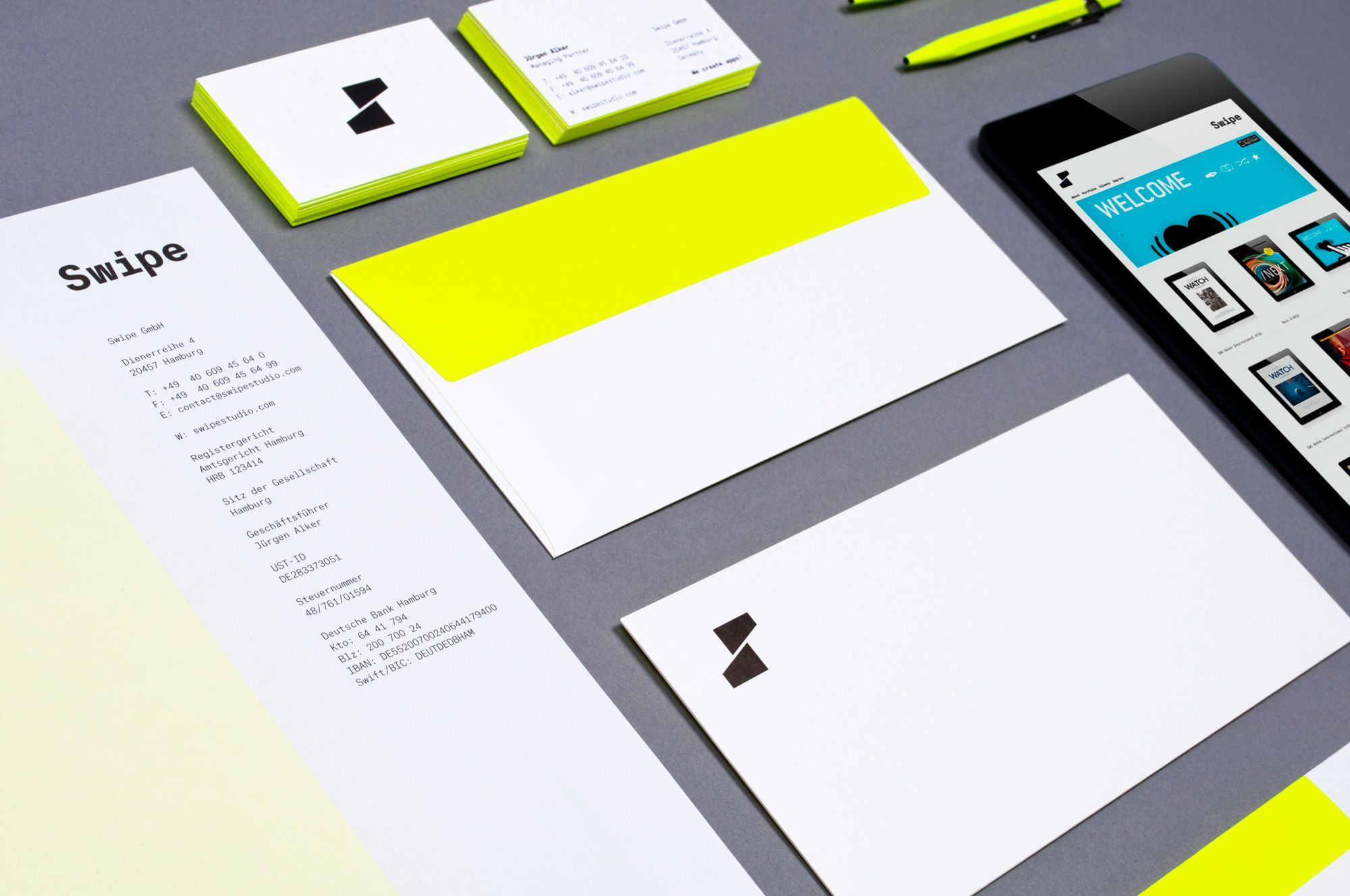 Swipe Business Card Letterhead And Envelope With Neon Yellow Www Swipestudio Com Graphic Design Inspiration Branding App Design Layout Branding