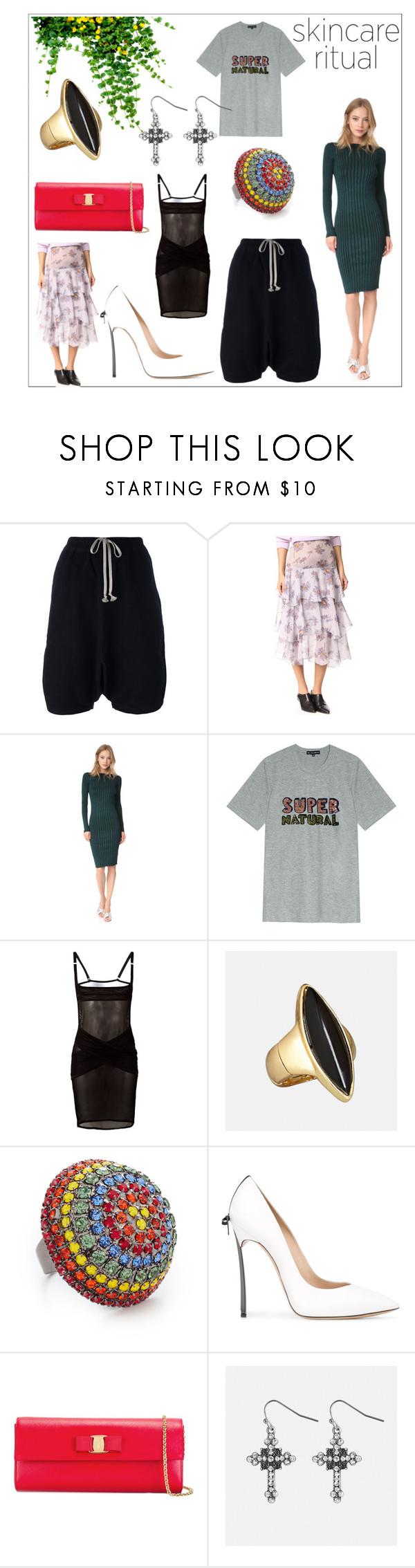 """skincare fashion"" by kristeen9 ❤ liked on Polyvore featuring DRKSHDW, Rodarte, Demylee, Markus Lupfer, Maison Close, Avenue, Elizabeth Cole, Casadei and Salvatore Ferragamo"