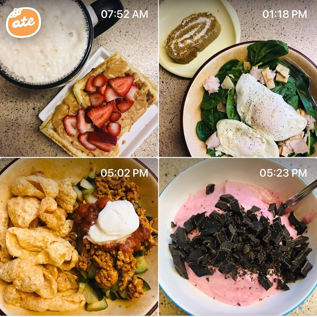 B- blender waffles with peanut junkie butter, berries, trimmy light (satisfying) L- spinach with lunch meat, hard cheese, 2 eggs, and pumpkin roll (satisfying) D- pork rinds , zucchini, chicken taco meat, salsa, sour cream (satisfying) De- cottage berry whip and 85% dark chocolate (satisfying)