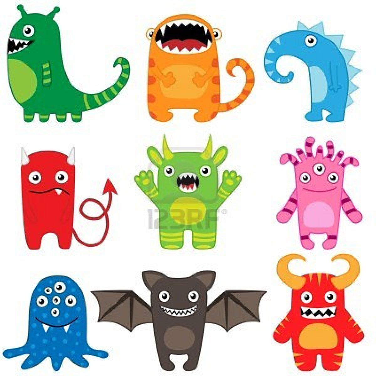 Set Of Different Cute Funny Cartoon Monsters Cartoon Monsters Cute Funny Cartoons Cute Monsters