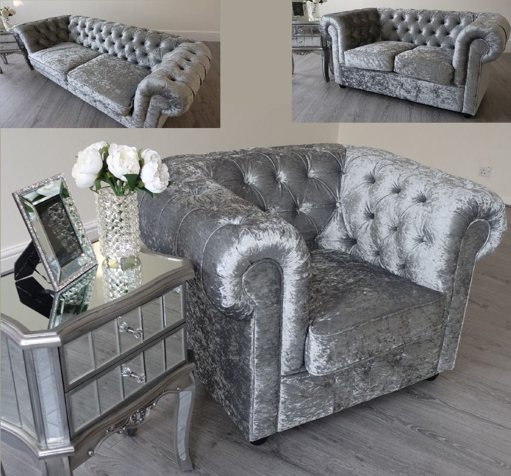 Grey Silver Crushed Velvet Fabric Chesterfield Sofas 7 7 7 Seater