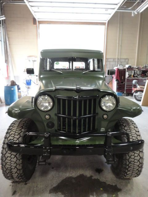 Willys Jeep Station Wagon, green military, black accents,  nose art, updated, wow!