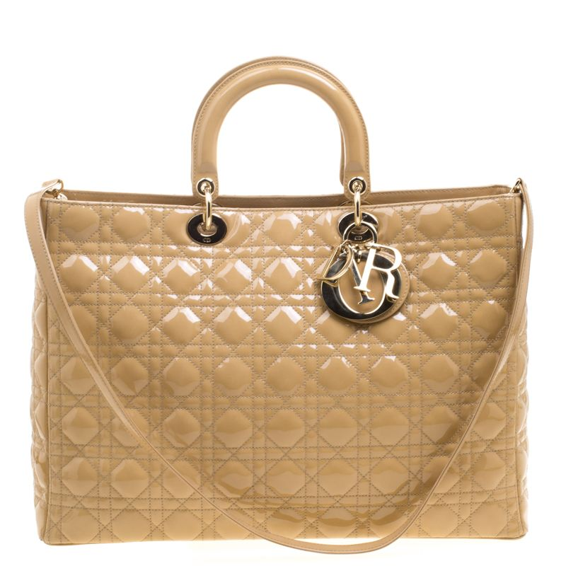 5d1526ba93f Buy 100% authentic Dior Beige Patent Leather Extra Large Lady Dior Tote  115049 and enjoy offers up to 80% off. We offer quick delivery whether  you're in UAE ...